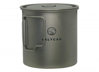 Valtcan Titanium Camping Pot 650ml with Strain Lid and Stuff Sack