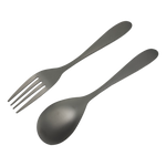 Valtcan Titanium Fork and Spoon Kitchen Flatware Full Length 8 inch Matte