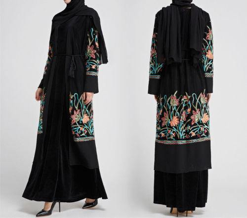 Flower Embroided Open Abaya-Clothing-MOVE HALAL
