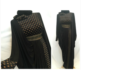 Dubai Gold & Black Checkered Abaya