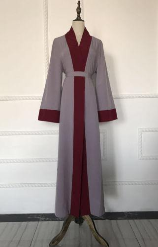Red & Gray Open Abaya