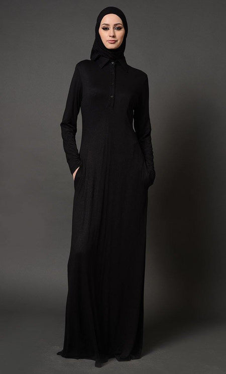 Collared Everyday Wear Basic Abaya Dress