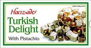 Hacizade Turkish Delight Candy with Pistachio, 16 Ounce