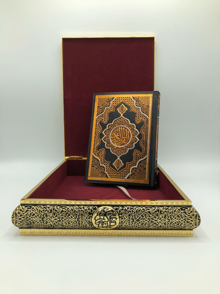 The Holy Quran with Black & Gold Ornamental Quran Case
