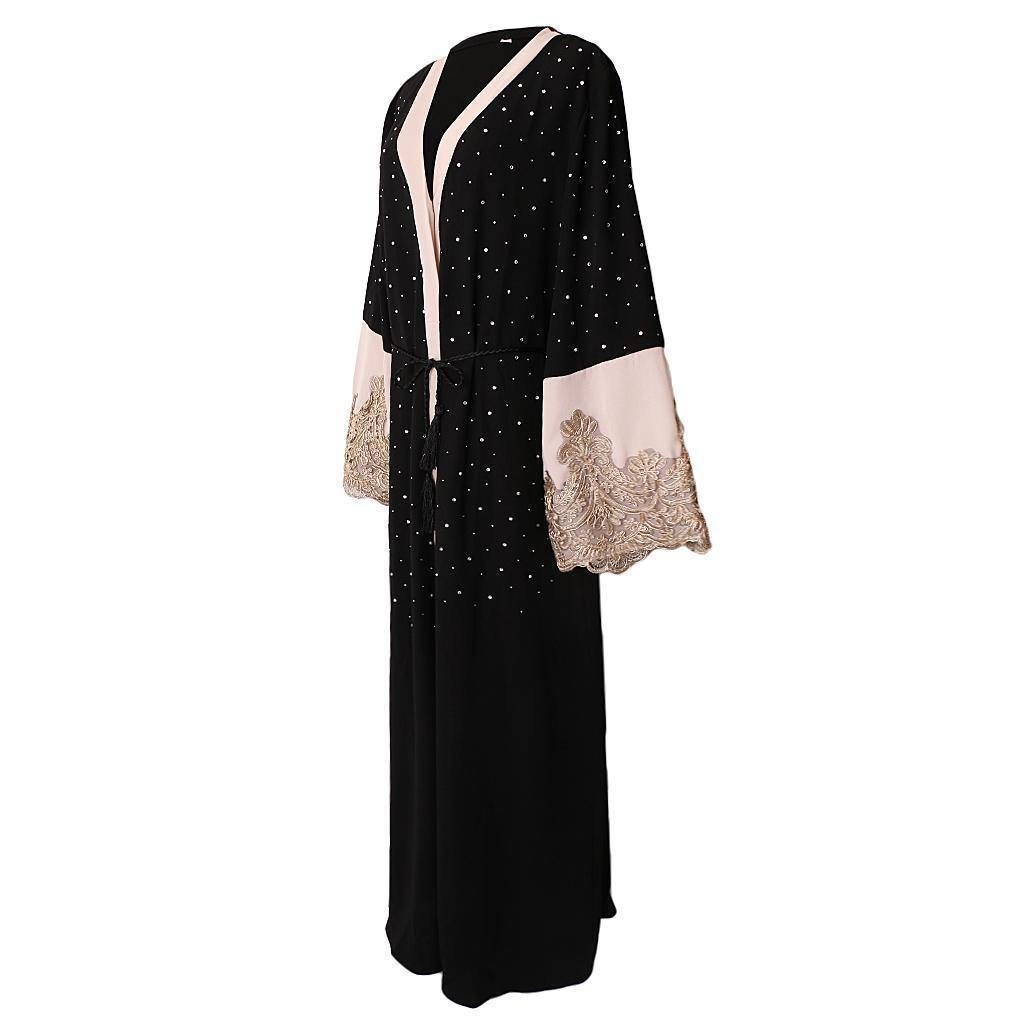 Black Sequin Open Abaya w/ Pink Lace Sleeves