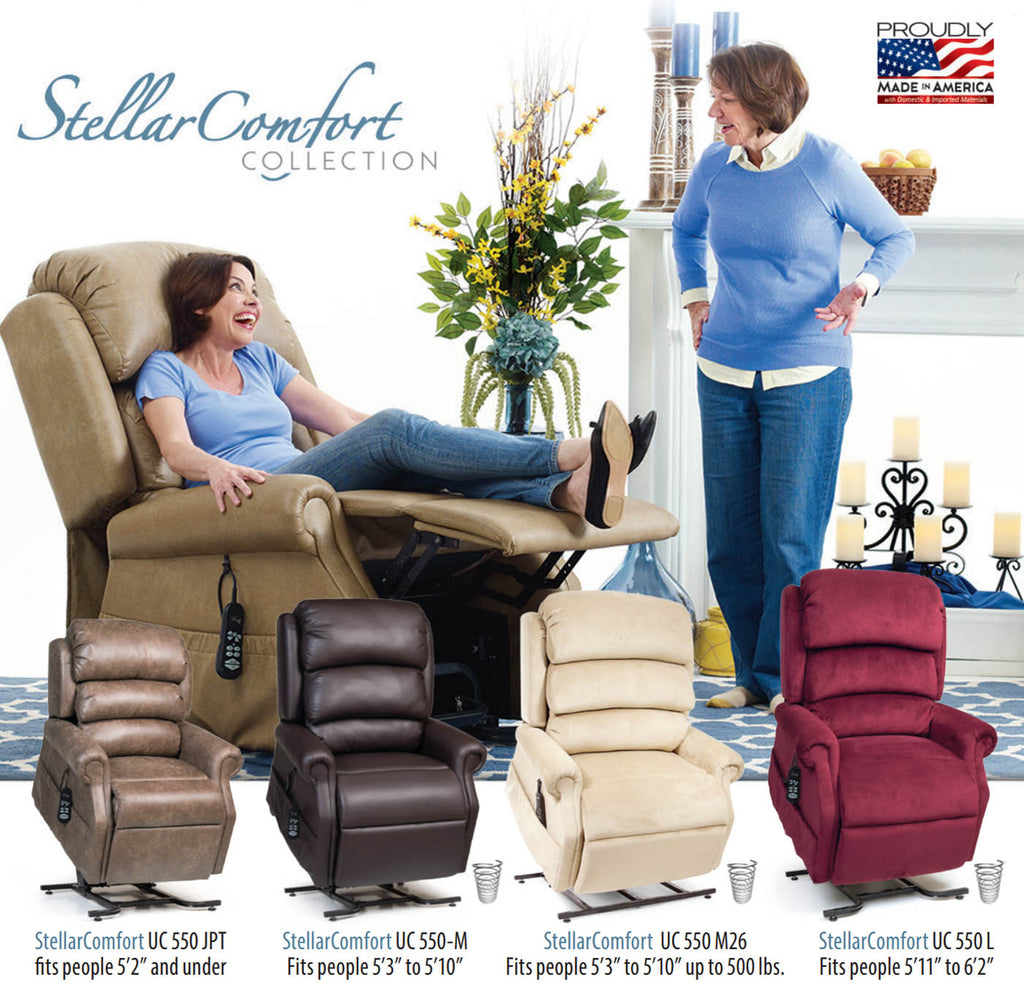 UltraComfort America Stellar Comfort Zero Gravity Lift Chair - options and sizes
