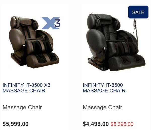 Infinity IT-8500 vs IT-8500X3 Massage Chairs