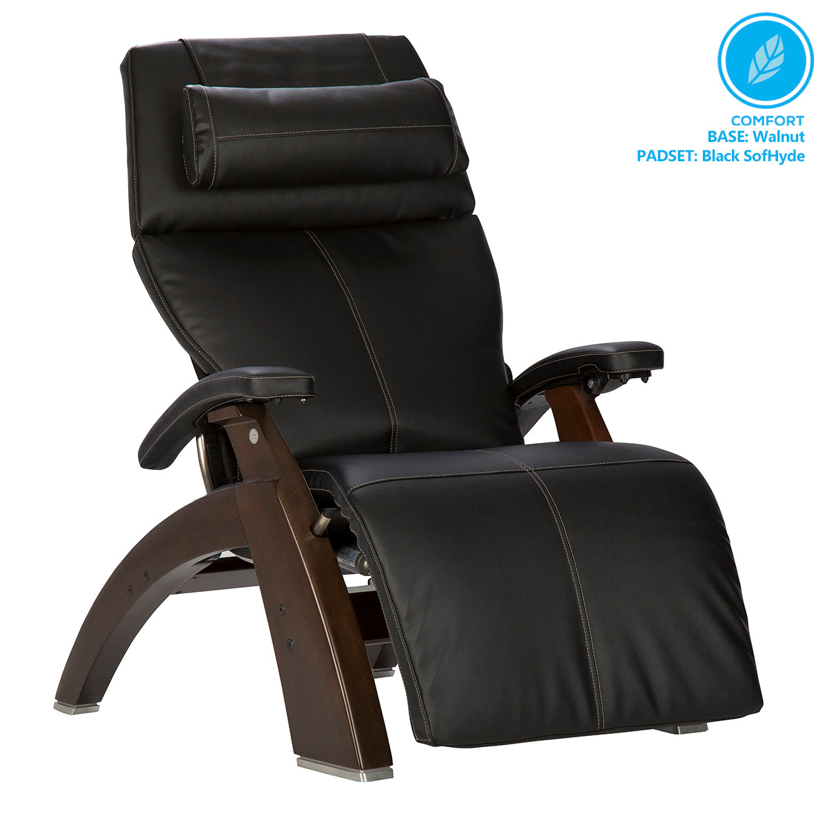 Human Touch Perfect Chair PC-610 Omni-Motion Classic Zero Gravity Chair - Dark Walnut Black SofHyde