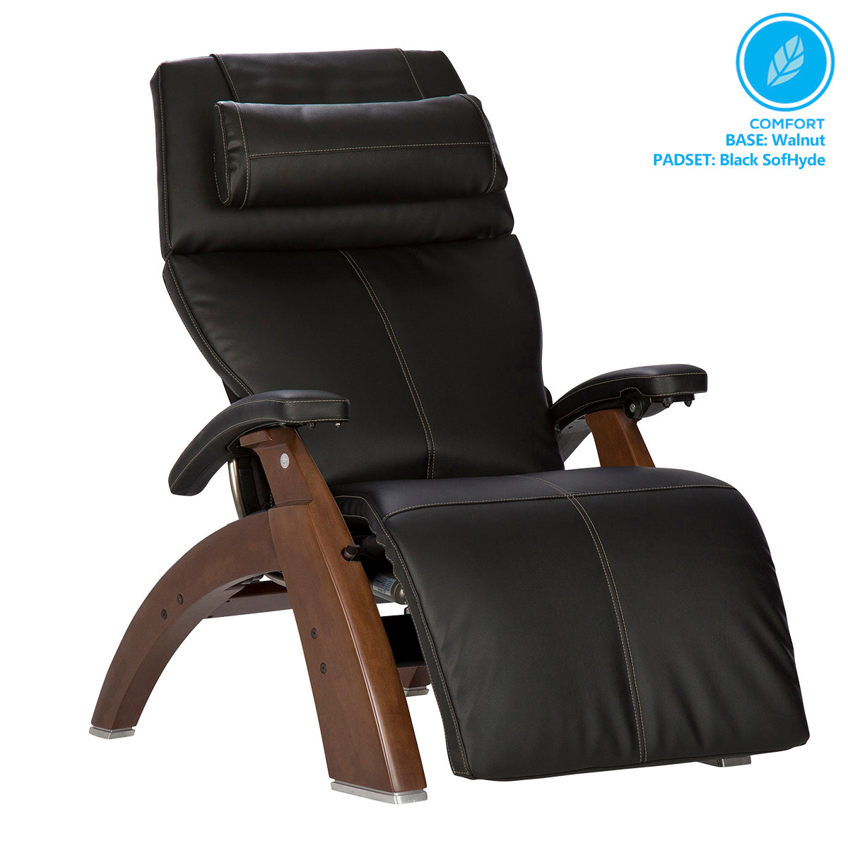 Human Touch Perfect Chair PC-610 Omni-Motion Classic Zero Gravity Chair - Walnut Black SofHydeHuman Touch Perfect Chair PC-610 2