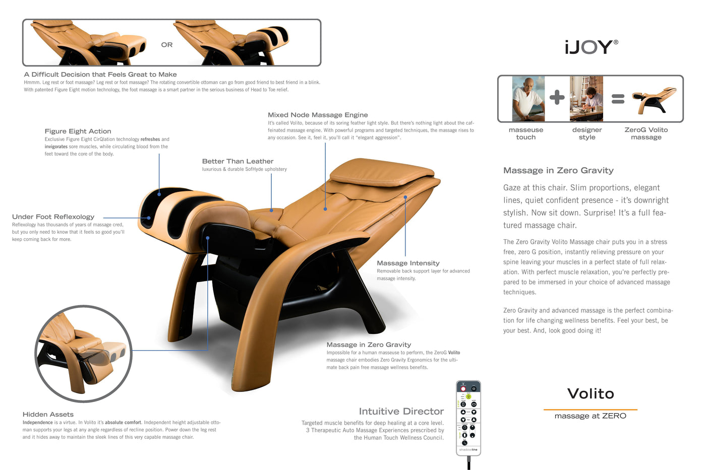 ... Zero Gravity Recliner   Human Touch Volito Zero Gravity Massage Chair  ...