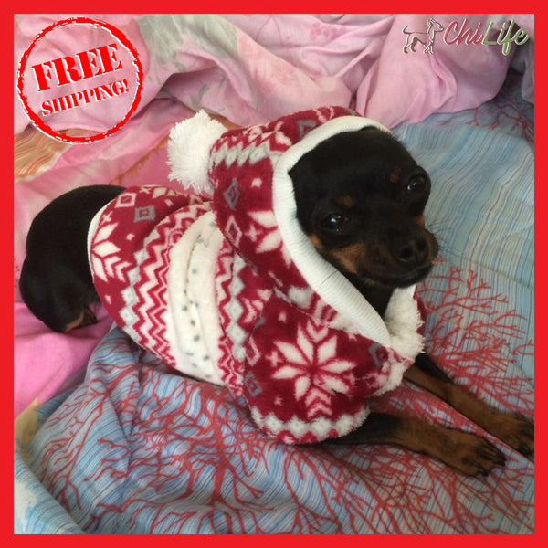 Cozy Winter Snowflake Hoodie Jacket for Small Dogs