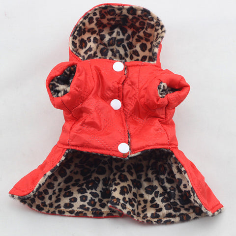 Reversible 2-in-1 Leopard Winter Jacket Dress w/ Hood For Girl Dogs