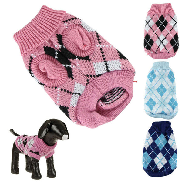 Knit Argyle Sweater for Dogs