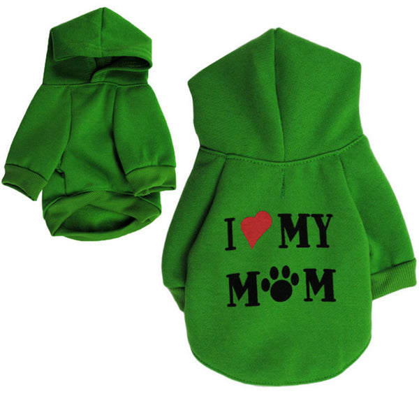 I Love My Mom Dog Hoodie
