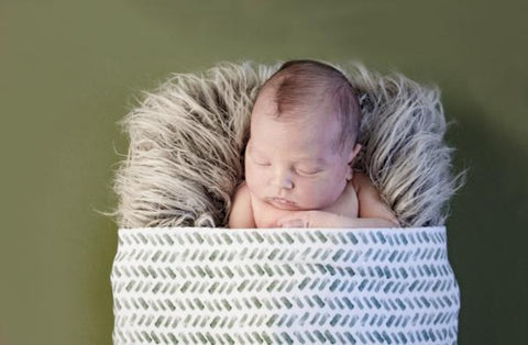 Watercolor Herringbone Green - Swaddle Blanket