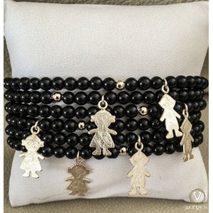 Bracelet Silver 925 with Lapped Gold and Onyx (Boy or Girl)-Eleven LLC