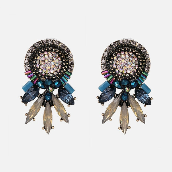 Ztech Za 2020 Black Color Metal Crystal Acrylic Vintage Earrings Lady Girls Handmade Party Statement Jewelry Fashion Accessories