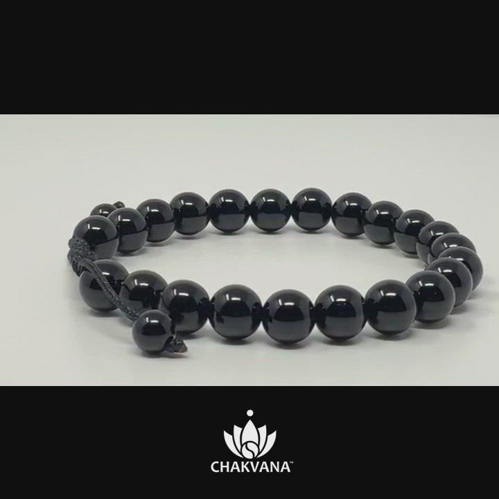 CHAKVANA 8mm Black Onyx Adjustable Macrame Gemstone Bead Bracelet – Chakvana.com