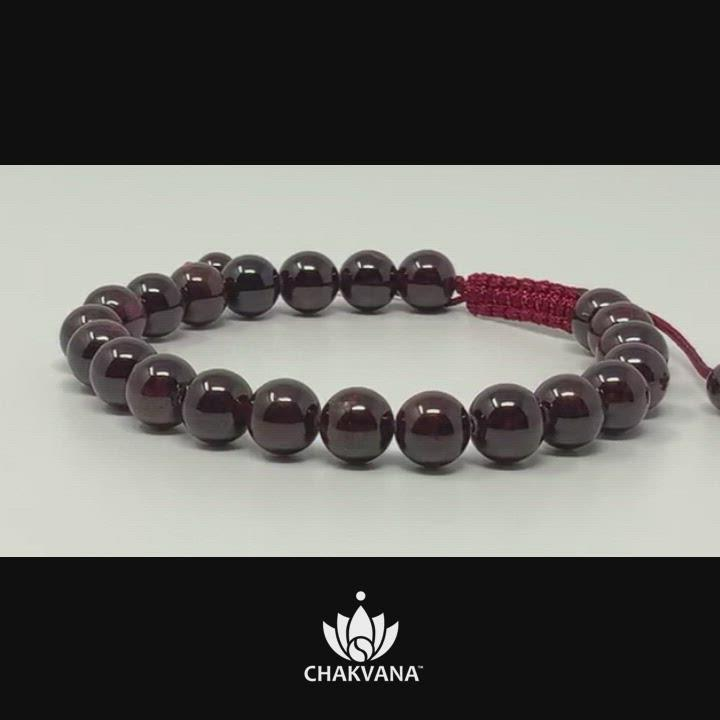 CHAKVANA 8mm Garnet Adjustable Macrame Gemstone Bead Bracelet – Chakvana.com