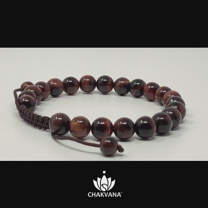 CHAKVANA 8mm Red Tiger's Eye Adjustable Macrame Gemstone Bead Bracelet – Chakvana.com
