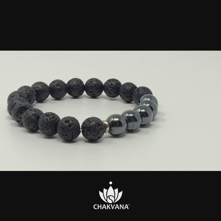 Video of Hematite & Black Lava Stone - 8mm Gemstone Bead Bracelet – Chakvana.com