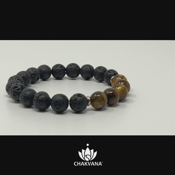 Video of CHAKVANA Tiger's Eye & Black Lava Stone Bracelet