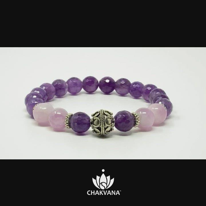 "Video of ""Universal Love"" - Kunzite & Faceted Amethyst - 8mm Gemstone Bead Bracelet with Bali Bead – Chakvana.com"