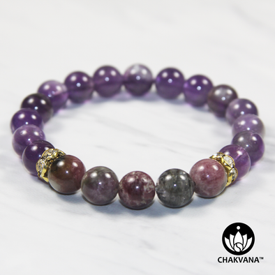 8mm Round Bead Bracelet | 14K Gold Plated | Amethyst with Elbaite Multicolored Tourmaline