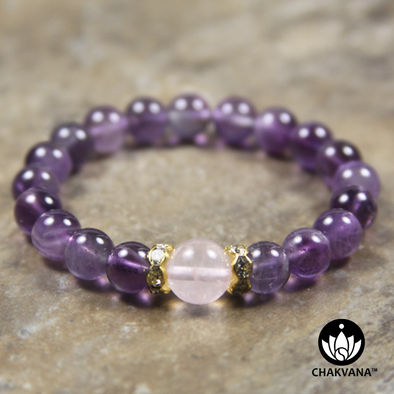 8mm Round Bead Bracelet | 14K Gold Plated | Amethyst with 10mm Rose Quartz Bead