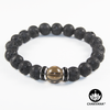 8mm Round Bead Bracelet | Silver Plated | Black Lava Stone with 10mm Smoky Quartz Bead