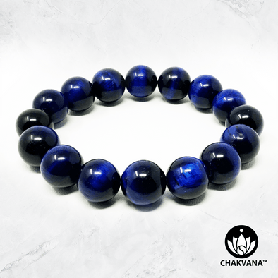Blue Tiger's Eye - 12mm Gemstone Bead Bracelet – Chakvana.com