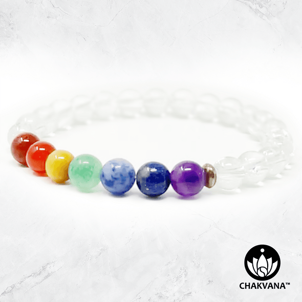 7 Chakras & Clear Quartz - 6mm Gemstone Bead Bracelet – Chakvana.com