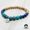 Turquoise, Chrysocolla and Sandalwood 6mm Gemstone Bead and Wood Bracelet with Sterling Silver Om Charm – Chakvana.com