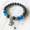 8 mm Round Bead Bracelet | Black Onyx and Agate with Om Charm