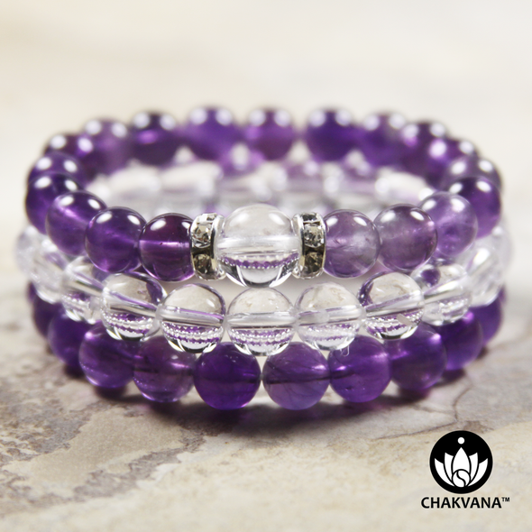 8mm Gemstone Bracelet Stack | Silver Plated | Amethyst, Clear Quartz, Amethyst with 10mm Quartz Bead
