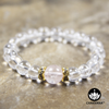 8mm Round Bead Bracelet | 14K Gold Plated | Clear Quartz with 10mm Rose Quartz Bead
