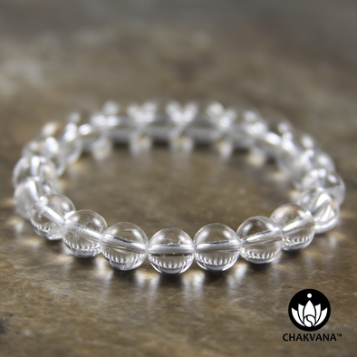 8mm Round Bead Bracelet | Clear Quartz
