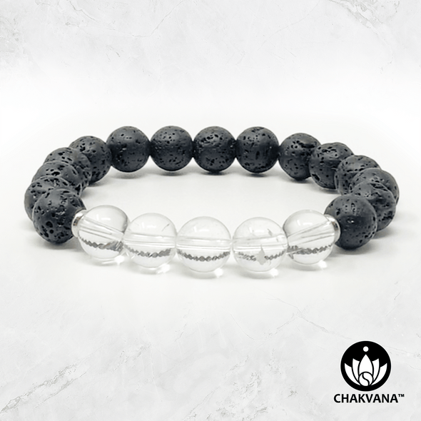 Clear Quartz & Black Lava Stone - 8mm Gemstone Bead Bracelet – Chakvana.com