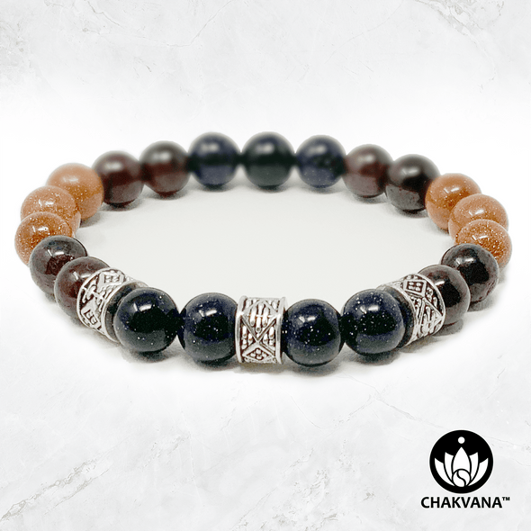 Red Garnet, Goldstone, and Blue Goldstone 8mm Gemstone Bead Bracelet with Silver Plated Decorative Rondelles – Chakvana.com