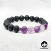 Purple Fluorite & Black Lava Stone - 8mm Gemstone Bead Bracelet – Chakvana.com