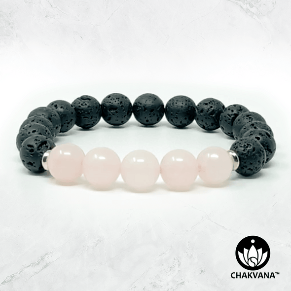 Rose Quartz & Black Lava Stone - 8mm Gemstone Bead Bracelet – Chakvana.com