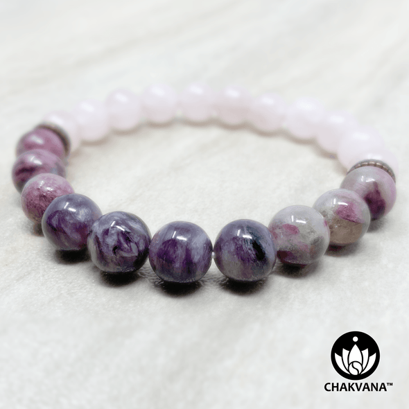Charoite, Multicolor Tourmaline and Rose Quartz 8mm Gemstone Bead Bracelet – Chakvana.com