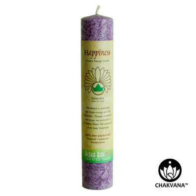 Aloha Bay Chakra Energy Pillar Candle - Crown Chakra - Sahasrara - Happiness. Available at CHAKVANA.COM