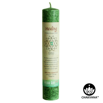 Aloha Bay Chakra Energy Pillar Candle - Heart Chakra - Anahata - Healing. Available at CHAKVANA.COM