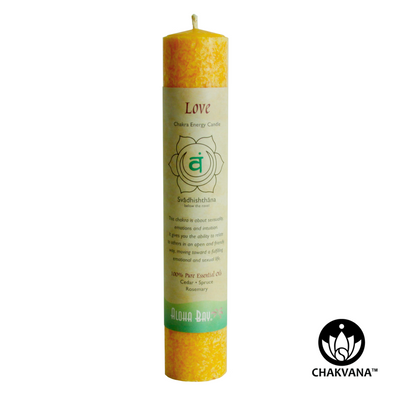 Aloha Bay Chakra Energy Pillar Candle - Sacral Chakra - Svadhishthana - Love. Available at CHAKVANA.COM