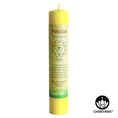 Aloha Bay Chakra Energy Pillar Candle - Solar Plexus Chakra - Manipura - Protection. Available at CHAKVANA.COM