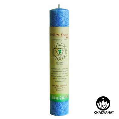 Aloha Bay Chakra Energy Pillar Candle - Throat Chakra - Visuddha - Positive Energy. Available at CHAKVANA.COM