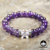 8mm Round Bead Bracelet | Silver Plated | Amethyst with 10mm Clear Quartz Bead