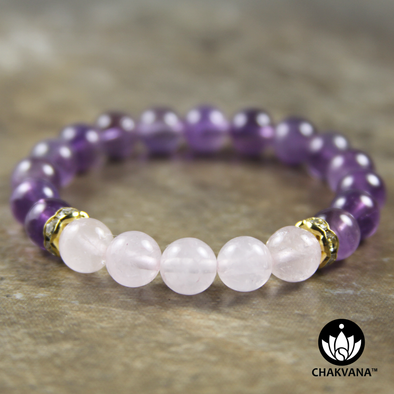 8mm Round Bead Bracelet | 14K Gold Plated | Amethyst with Rose Quartz