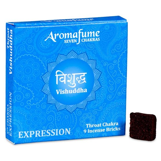 Aromafume Seven Chakras - Vishudda - Expression - Throat Chakra - 9 Incense Bricks